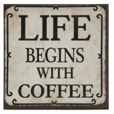 "Magneet ""Life begins with coffee"" - 7 cm"